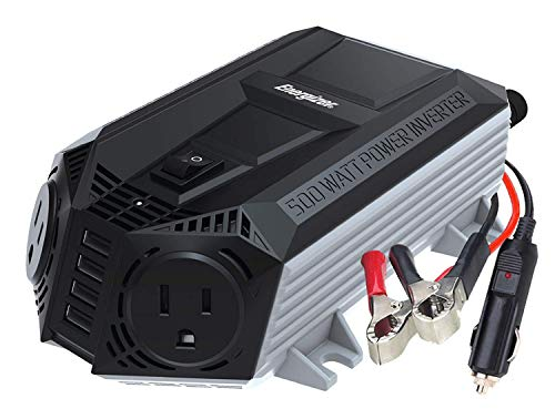 (ENERGIZER 500 Watt Power Inverter 12V DC to AC + 4 x 2.4A USB Charging Ports Total 9.6A)