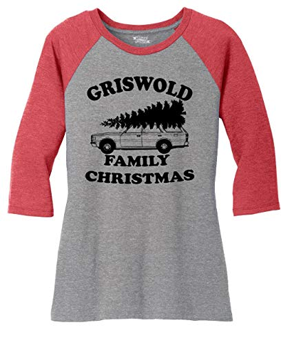 Ladies 3/4 Raglan Griswold Family Christmas Funny Xmas Holiday Shirt Red Frost/Grey Frost M from Comical Shirt