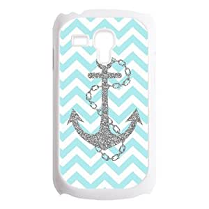 Light Blue Chevron Zigzags & Gray Anchor Pattern Personalized Custom Best Plastic Case for Samsung Galaxy s3 MINI ,Black or White for Choice by runtopwell