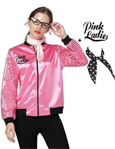 Women 1950s Fish Scale Sequins Pink Ladies Jacket Halloween Fancy Costume (S, Hot Pink)]()