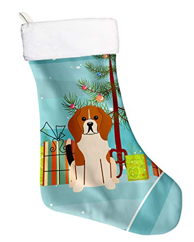 Caroline's Treasures Merry Christmas Tree Beagle Tricolor Stocking, Large, Multicolor