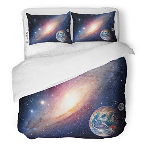 Semtomn Decor Duvet Cover Set Full/Queen Size Astrology Astronomy Earth Moon Space Big Bang Solar System 3 Piece Brushed Microfiber Fabric Print Bedding Set Cover ()