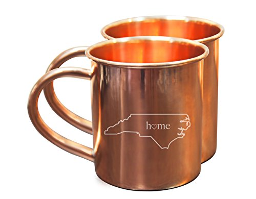 Home State Copper Mugs for Moscow Mules – North Carolina Mug - 100% Pure Copper Mug - Best For Moscow Mule Lovers - Set of 2 Copper Cups – 14 oz Size By Alchemade