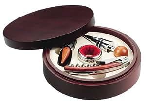 Caja circular de madera con 4 acc. Vino