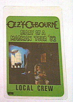 1982 Ozzy Osbourne Randy Rhoads Backstage Pass Local Crew w/ Picture Diary of a Madman Tour
