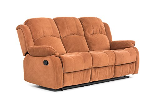 Classic and Traditional Brown Brush Microfiber Recliner Chair, Love Seat, Sofa Size - 1 Seater, 2 Seater, 3 Seater Set (3 Seater)
