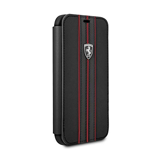 CG Mobile iPhone X & iPhone XS Ferrari Cell Phone Case, Off Track Collection, Black PU Leather Hard Wallet Case with Contrasting Red Stitching finishes, TPU Rubber Frame, and Easily ()
