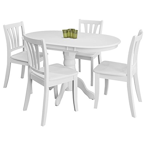 Corliving Dillon 5 Piece Extendable Pedestal Dining Set in White