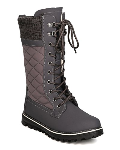 Refresh Women Mixed Media Mid-Calf Quilted Lace Up Winter Boot GB11 Grey