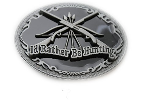 TFJ Men Fashion Belt Buckle Silver Color Metal I'd Rather Be Hunting Gun Bow Hunter