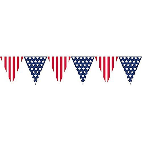 Banner Stars And Stripes - Amscan Amazing Patriotic Pennant Banner, 12, Red/White/Blue (Value 2-Pack)