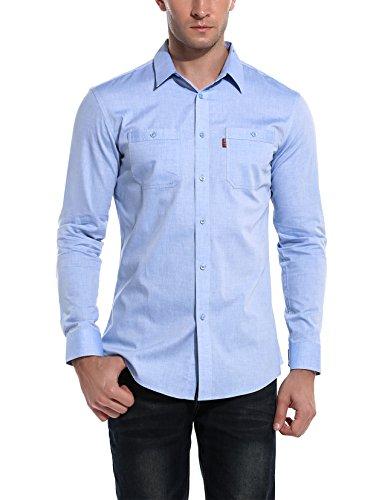 Bikeias Mens Solid Slim fit Casual Button Down Long Sleeve Oxford Dress Shirt (Blue L)