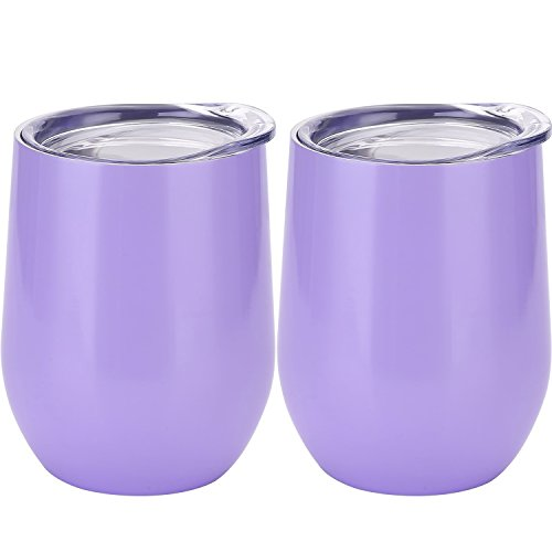 Skylety 12 oz Double-insulated Stemless Glass, Stainless Steel Tumbler Cup with Lids for Wine, Coffee, Drinks, Champagne, Cocktails, 2 Sets (Purple)