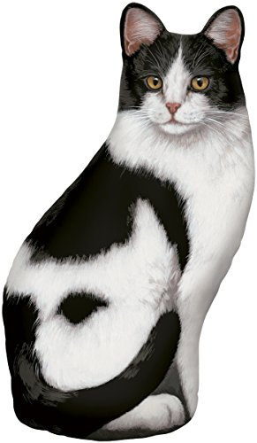 (Black & White Cat Door Stop, Decorative Door Stopper, Interior, Unique Doorstop)