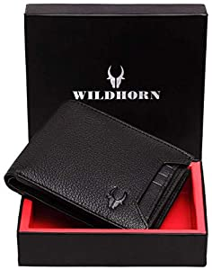 WILDHORN RFID Men's Protected River Genuine Leather Wallet (Black)