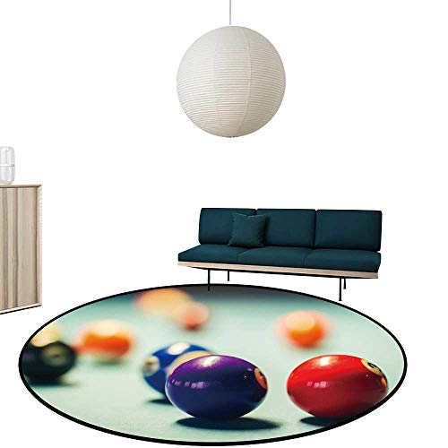 "Custom&blanket Round Area Rugs billiar Balls on a Pool Table Multi-Color Super Soft Diameter-35.4"""