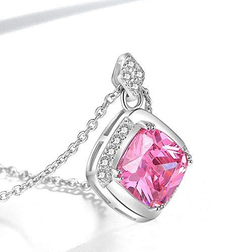 Jenny.Ben Colored Crystal Pendant Female Model Diamond Fashion Personality Pendant@Single Pendant White Gold (Pink Stone)