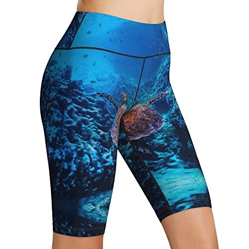 Hoge Taille Yoga Shorts Zeeschildpad Chelonioidea Marine Hawksbill Indo Pacific Dames Fietsshorts Tummy Control Fitness…