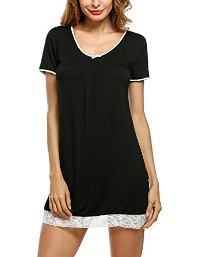Hotouch-Womens-Nightgown-Cotton-Sleep-Shirt-Scoopneck-Short-Sleeve-Sleepwear-S-XXL