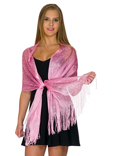 Shawls and Wraps for Evening Dresses, Wedding Shawl Wrap Fringes Scarf for Women Pink Petal Rose (Dress Scarf Collection)