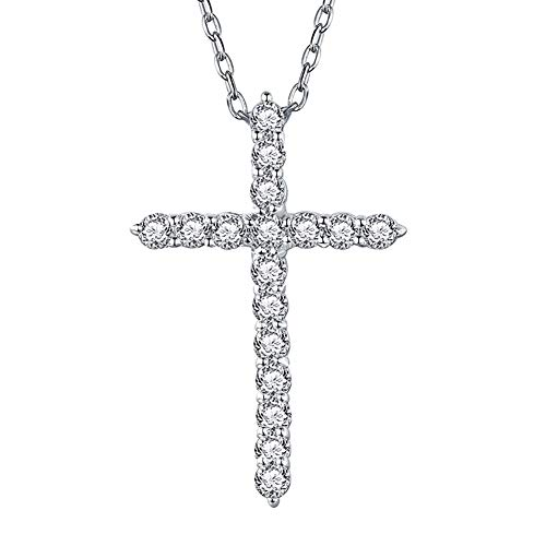 - Erllo Infinity Cross Pendant Necklace 925 Sterling Silver Crucifix Necklace Round Cut Cubic Zirconia Criss Engagement Jewelry Chain 18'' for Women Girls