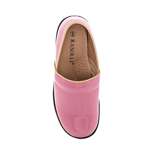 Rasolli Dannis Womens Patent Slip On Closed Back Comfort Clogs Shoes Pink yz8A8fI