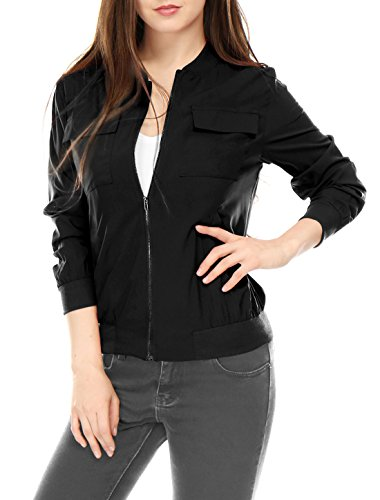 Allegra K Women's Multi-Pocket Zip Fastening Lightweight Bomber Jacket S Black