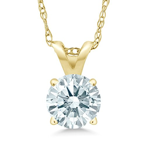 - 14K Yellow Gold Pendant Necklace 0.84 cttw with 18 Inch Chain Made With Swarovski Zirconia