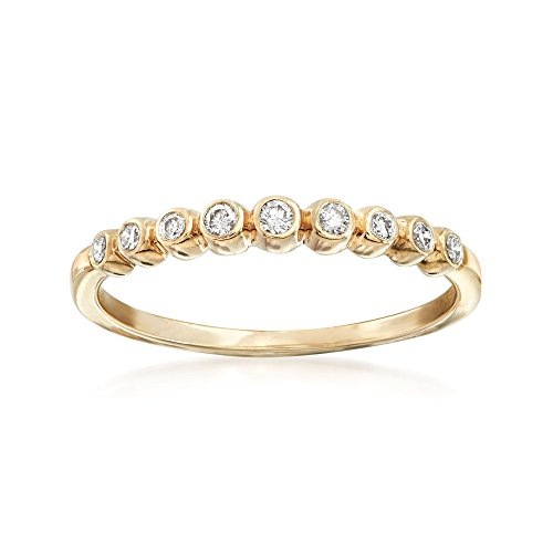 Ross-Simons 0.13 ct. t.w. Bezel-Set Diamond Stackable Ring in 18kt Gold Over ()