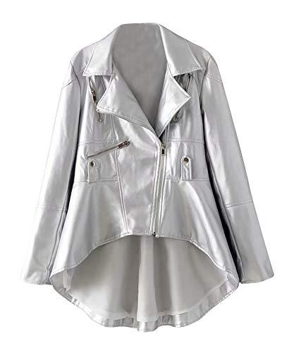 Lunga Manica Di Cappotto Bavero Cerniera Eleganti Argento Con Irregular Giacca Pelle Donna Giubbotto qwXHw