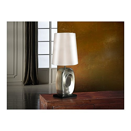 Schuller Spain 471724/7288I4L Modern, Art Deco silver Drum Shade Table Lamp White 1 Light Living Room, bed room, Study, Bedroom LED, White Shade silver table lamp | ideas4lighting by Schuller