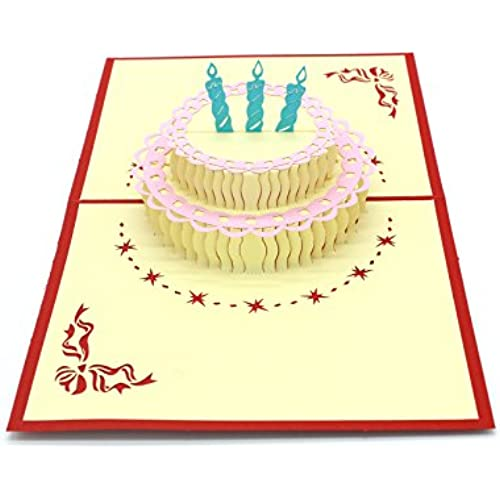 Michel Production 3D Handcrafted Pop up birthday Card Best Wish Birthday Cake Sales