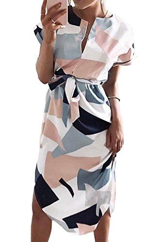 Papaya wear Womens Casual V-Neck Geometric Pattern Belted Summer Midi Dresses White ()