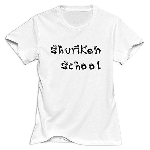 Shuriken School Rabbits Logo Cute Short-Sleeve White T Shirts For Adult Size L