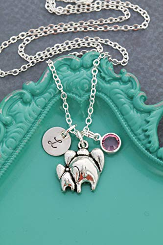Charm New 9mm Custom (Mommy Baby Elephant Necklace – DII AAA - Mom Daughter Child Gift – 3/8 Inch 9MM Disc – Customize Initial – Custom Birthstone Color – Fast 1 Day Shipping)
