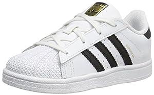 adidas Originals Superstar I Basketball Fashion Sneaker (Infant/Toddler),White/Black/White,7 M US Toddler