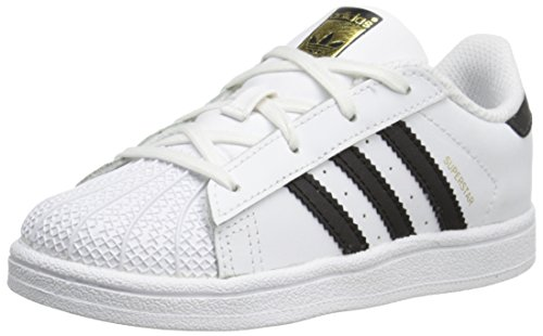 - adidas Originals Superstar I Basketball Fashion Sneaker (Infant/Toddler),White/Black/White,5 M US Toddler