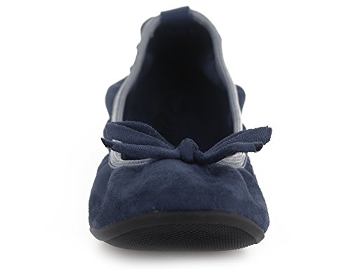Slip Ballerina Ballet Greatonu Shoes Women Blue On Foldable Flats Comfort qRqwtOX