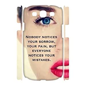 3D Samsung Galaxy S3 Case Miley Cyrus Quotes Your Pain, Sorrow, Mistakes, Case for Samsung Galaxy S3 Mini - [White] Bloomingbluerose