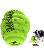 Dog Slow Feeder Toy, Natural Rubber Slow Dispenser Interactive Dog Food Treat Puzzle Toy with Toothbrush IQ Training Ball Teeth Grinding for Dogs 20-55 lbs