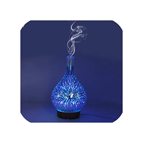 mamamoo 3D Fireworks Night Light Air Humidifier Glass Vase Shape Aroma Essential Oil Diffuser Mist Maker Ultrasonic Humidifier Gift,EU