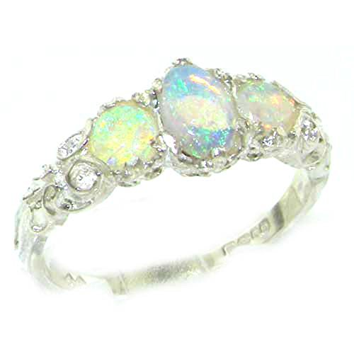 LetsBuyGold 10k White Gold Real Genuine Opal Womens Band Ring