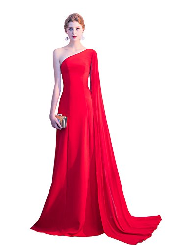 One Shoulder Evening Formal Dress Watteau Train Banquet Prom Dress Gowns Red US4 (Watteau Train)