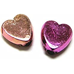 Linpeng Metallic Plastic Heart Shaped Rose Beads, 9mm/0.5-Pound, Gold and Fuchsia