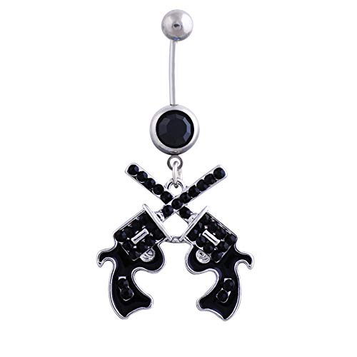 Quality Western Cowgirl Revolver Pistol Gun Belly Button Navel Ring Body Jewelry Sale Crystal Body Nail BK (Belly Button Rings Western)