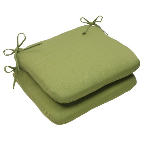 Pillow Perfect Indoor/Outdoor Forsyth Rounded Seat Cushion, Green, Set of 2 For Sale