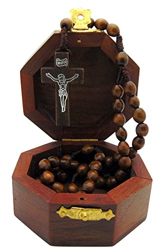 ooden Budded Cross Case and Wood Bead Rosary (Wood Rosary Box)