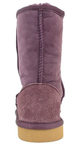 Short Boots Lambland Calf Length Sheepskin Genuine Ladies Purple RwxCtqwg