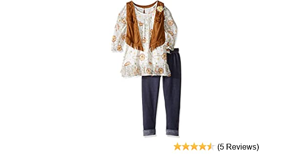 Nannette Girls 3 Piece Set with A Printed Lace Top and A Suede Vest and Legging