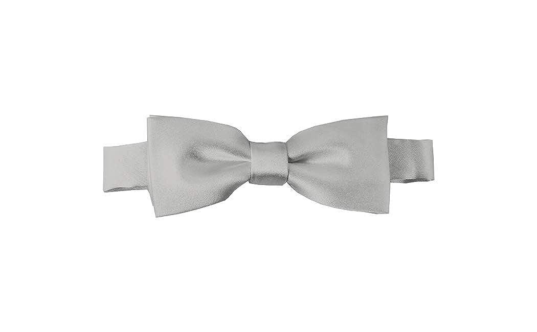Solid Silver Kids Pre-Tied Bow Tie